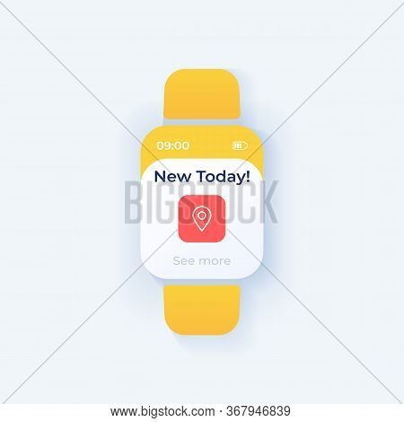 New Offer Smartwatch Interface Vector Template. Mobile App Notification Night Mode Design. Reminder