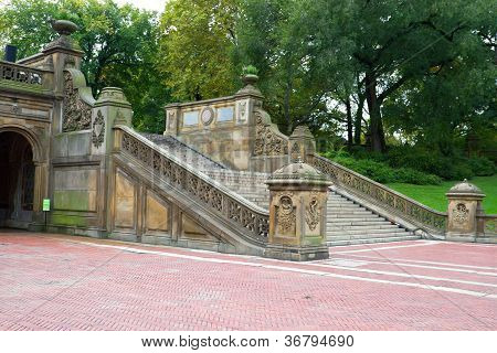 Ornate Staircase At The Bethesda Terrace, Central Park, New York