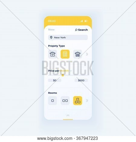 Property Type Search Smartphone Interface Vector Template. Mobile App Page White Design Layout. Acco