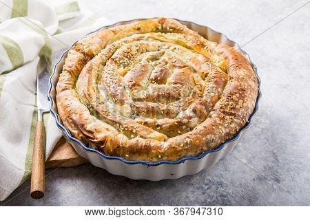 Greek Spinach Spanakopita . Homemade Greek Spanakopita Pie With Organic Spinach