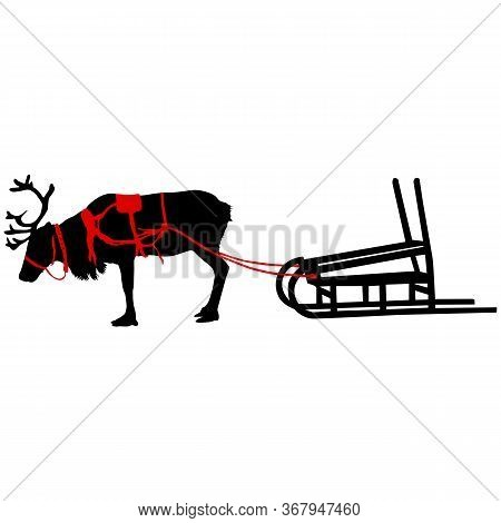 Silhouette Deer With Great Antler On White Background