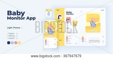 Infant Care Help App Screen Vector Adaptive Design Template. Remote Baby Monitoring Application Day