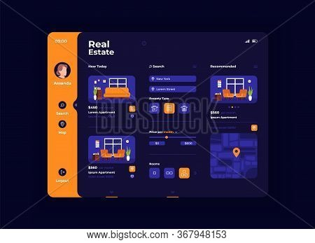 Real Estate Furnishing Tablet Interface Vector Template. Mobile App Page Night Mode Design Layout. A