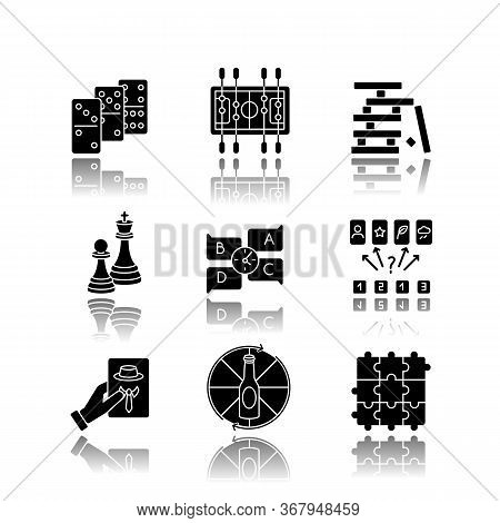 Party Games Drop Shadow Black Glyph Icons Set. Recreation Activities, Fun Pastime. Various Competiti