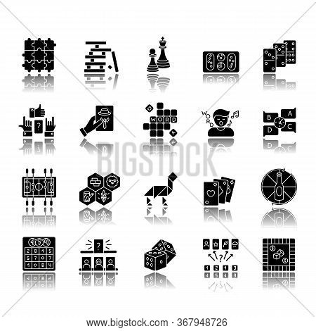 Table Games Drop Shadow Black Glyph Icons Set. Amusing And Educational Games, Entertaining Pastime.
