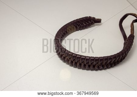 Leather Bracelet, Braided In A Beautiful Pattern, With Straps To Fasten On The Wrist