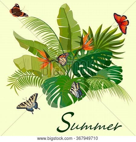 Illustration With Flowers, Leaves And Butterflies.flowers, Butterflies And Palm Leaves In Color Illu