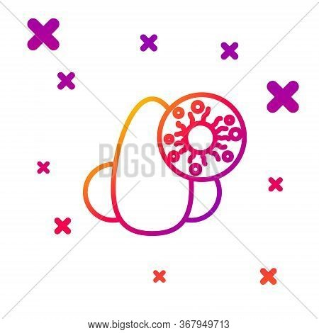 Color Line Runny Nose And Virus Icon Isolated On White Background. Rhinitis Symptoms, Treatment. Nos