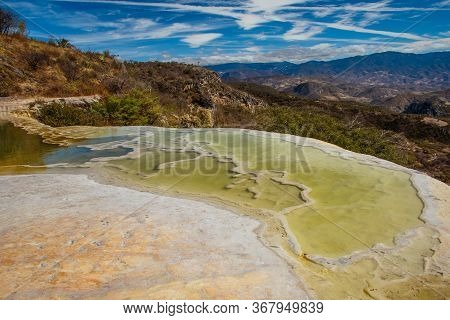 Mineral Pool Of Famous Place Called Hierve De Agua In Souhthern Part Of Mexico
