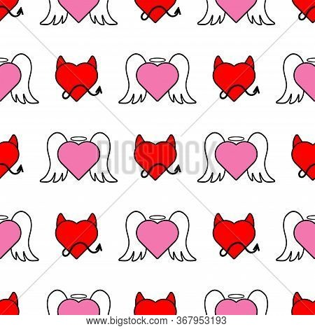 Seamless Pattern With Hearts In The Form Of An Angel And Devil. Cute Print. Flat Vector Illustration