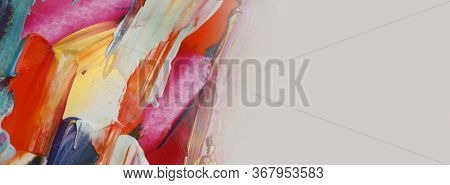 Art Abstract acrylic and watercolor painting. Color texture horizontal background.