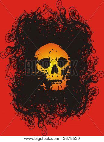 skull design - red background - black grunge - t-shirt poster