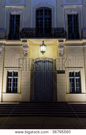 Front Entrance To A Mansion At Night