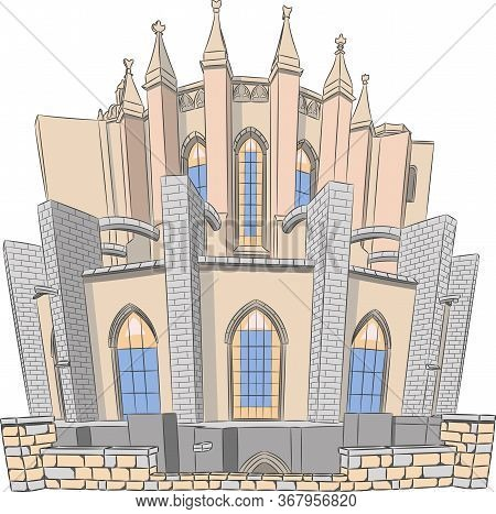 Facade Of The Old Medieval Cathedral Of St. Mary. Girona Spain. Catalonia.