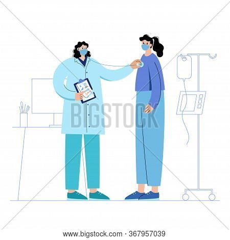 Consultation With A Practitioner With Mask In Clinic. Health Check With Stethoscope. Doctor Is Ready
