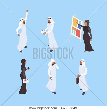 Muslim Isometric. Business Arabic Characters Working Office Managers Male Female Dubai Workers Vecto