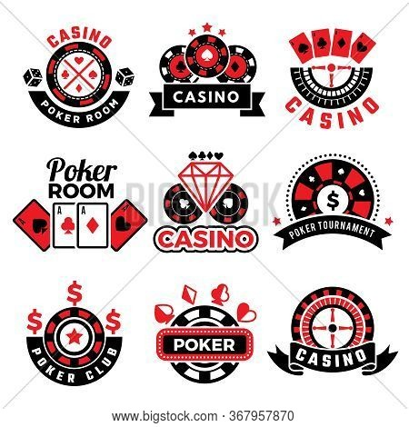 Casino Badges. Gambling Poker Game Chips Dice Images Cards Vector Emblems Set. Poker Casino And Gamb