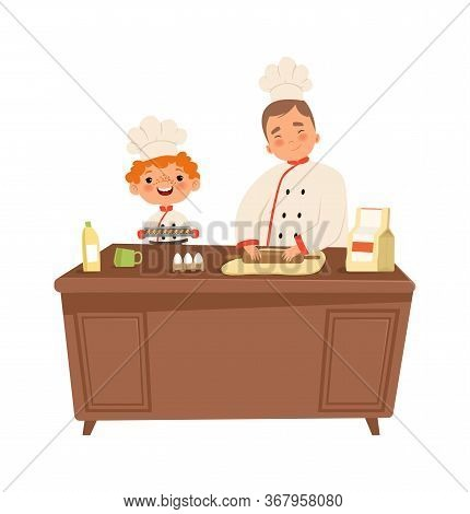 Boy Chef. Cute Kid And Man Cooking At Kitchen. Child In Uniform Making Food Vector Illustration. Coo