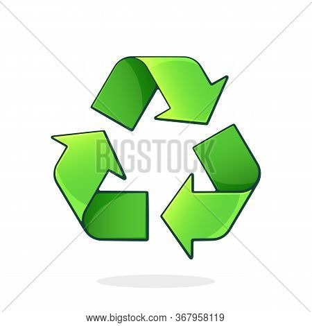 Green Recycling Symbol. Worldwide Attention Sign To Environmental Issues. Triangular Eco Friendly Si