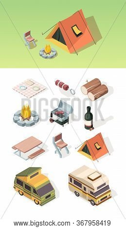 Barbecue Isometric. Picnic Table Bbq Steak Camper Van Product Party On Nature Fire And Tent Vector P