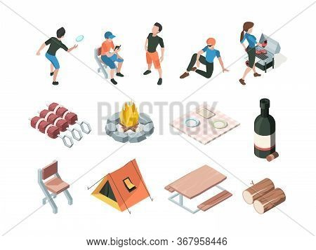 Bbq Party. People Relax Picnic Outdoor Barbecue Fresh Products Eating Persons Family Playing Vector