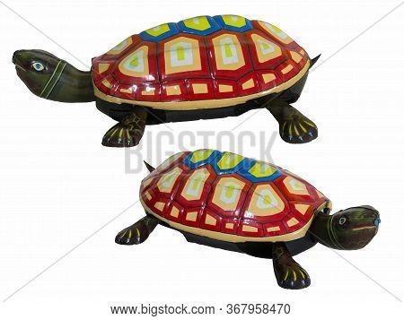 Vintage Tin Toys Turtle, Two Turtles Tin Toys / Isolated White