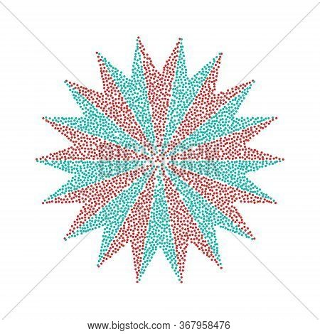 Flower Abstract Sign. Vector Icon With Red And Blue Circle At White Background. Isolated.
