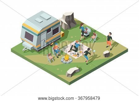 Outdoor Picnic Party. Camper Fire Place Tent Camp Barbecue Party Table For Food Street Grill Pork An