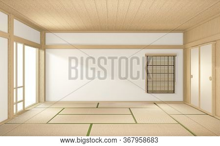 Tropical Style Room Interior, Empty Room Japan Style. 3D Rendering