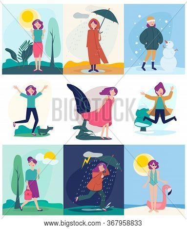 Seasonal Woman. Different Weather Outdoor Character Walking In Different Season Conditions Rainy Win