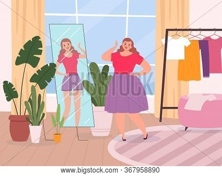Woman Mirror. Oversize Lady Standing Front Of Mirror View Fitness Girls Vector Happy Character. Lady