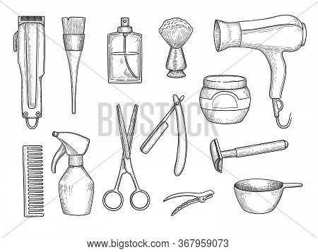 Barber Shop Items. Scissors Comb Razor Beauty Shave Salon Hair Cut Accessories Vector Hand Drawn Set