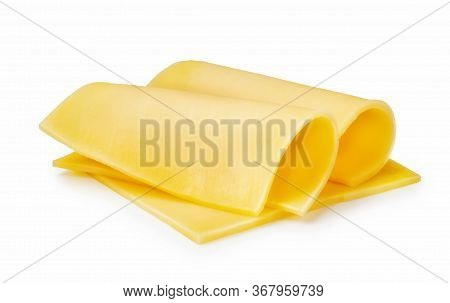 Three Cheese Slices Isolated On White Background
