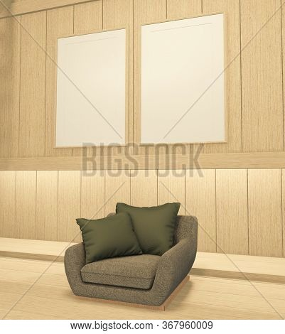 Interior Mock Up With Armchair In Japanese Wooden Room With Empty Wall. 3D Rendering
