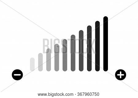 Volume Level Adjustment. Vector Isolated Icon. Low Fading Icon. Volume Bar Vector Icon.