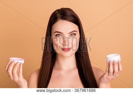 Close Up Photo Of Charming Positive Girl Beauty Promoter Recommend New Cream To Make Skin Pure Silky