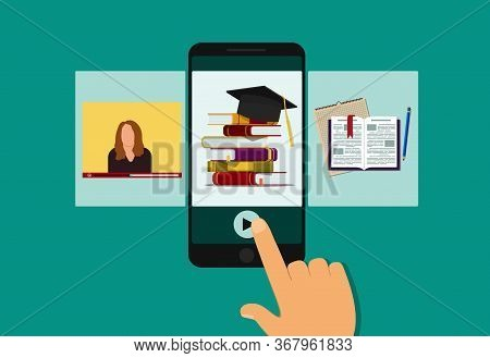 Online Education In Classroom On Mobile. E-learning In School, University With Lesson Of Teacher In