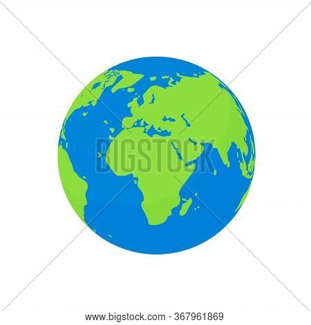 Flat Earth Globe Isolated. Cartoon World Planet With Europe Continent, America And Blue Ocean. Ecolo