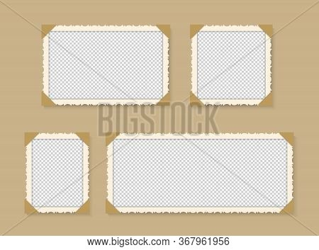 Vintage Photo Frame. Retro Picture On Isolated Background. Blank Paper Kraft Collage. Grunge Postcar