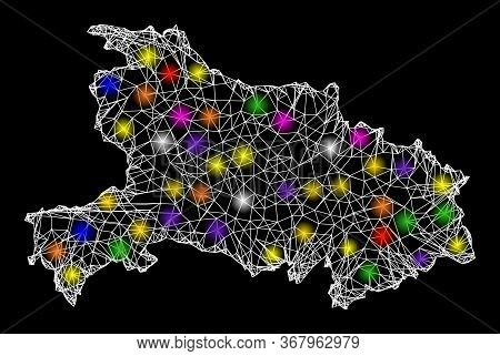 Web Mesh Vector Map Of Hubei Province With Glare Effect On A Black Background. Abstract Lines, Light