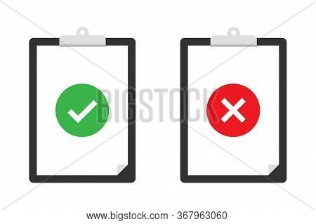 Clipboard Checklist With Checkmark. Clipbord With Checkmark Tick. Trendy Flat Design. Vector Isolate