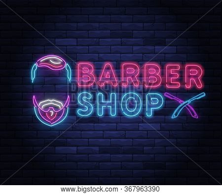 Illuminated Neon Barber Shop Design With Razor Blade. Hairstyling And Beard Grooming Salon For Gentl