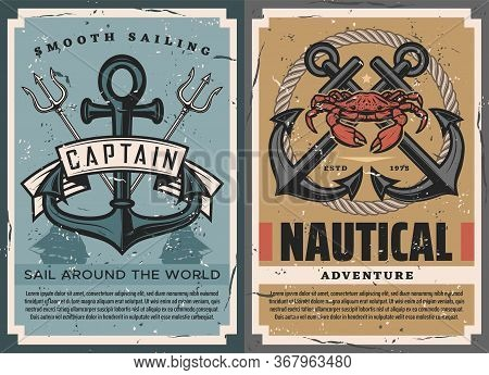Nautical Vintage Posters Set With Ship Anchor, Crossed Marine Tridents, Rope And Crab. Sail Around T