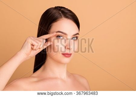 Close Up Photo Of Dreamy Magnificent Girlish Girl Have Salon Bodycare Treatment Eye Correction To Be