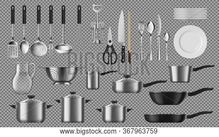 Kitchenware And Tableware, Dishware And Crockery Vector Cooking Set. Isolated Tableware Plates, Cook