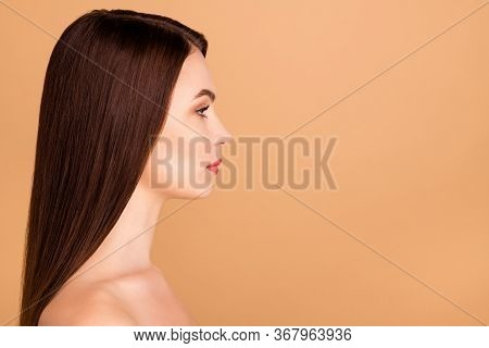 Profile Side Photo Of Minded Girlish Girl Look Wait For Skincare Salon Body Treatment To Make Her Sk