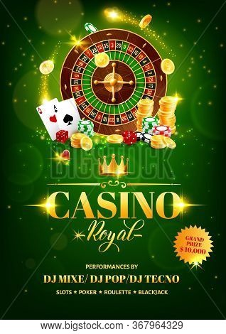 Casino Gambling Games Vector Flyer With Roulette Wheel, Chips And Dice, Poker Playing Cards, Gold Co