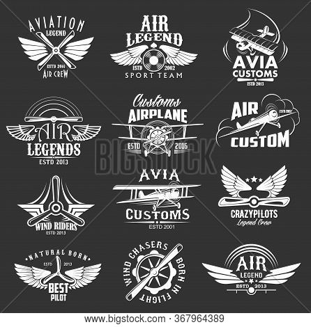 Aviation Heraldic Icons Set, Isolated Vector Labels Avia Customs And Retro Aviation Symbols Of Airpl