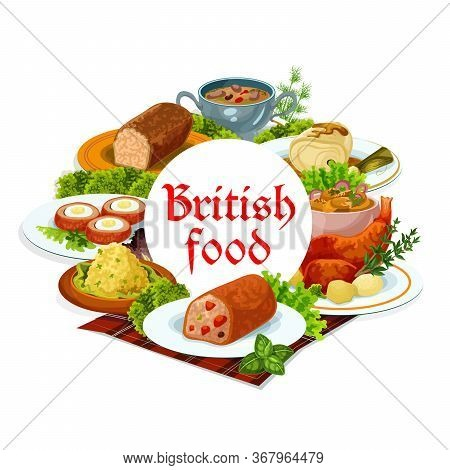 Britain Cuisine Vector Meals Cod With Sauce, Scotch Smoked Trout Plate And Christmas Turkey, Traditi