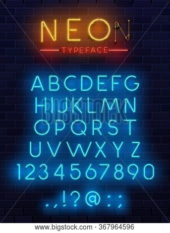Neon Type Font, Glowing Vector Alphabet Letters, Digits And Punctuation Marks On Dark Brick Wall Bac
